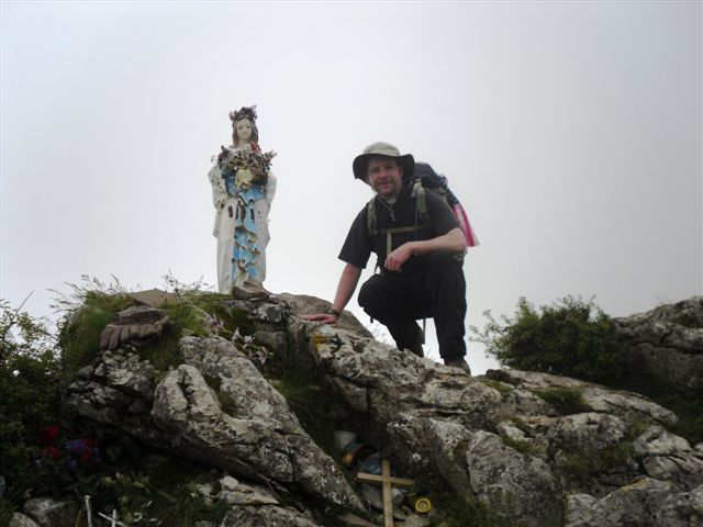 Fr. Markey 10 miles into Day One, in the Pyrenees